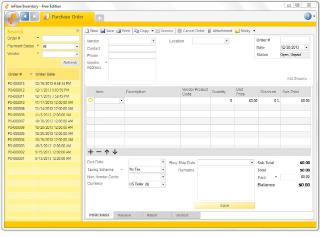 Purchase Order Template Microsoft Excel