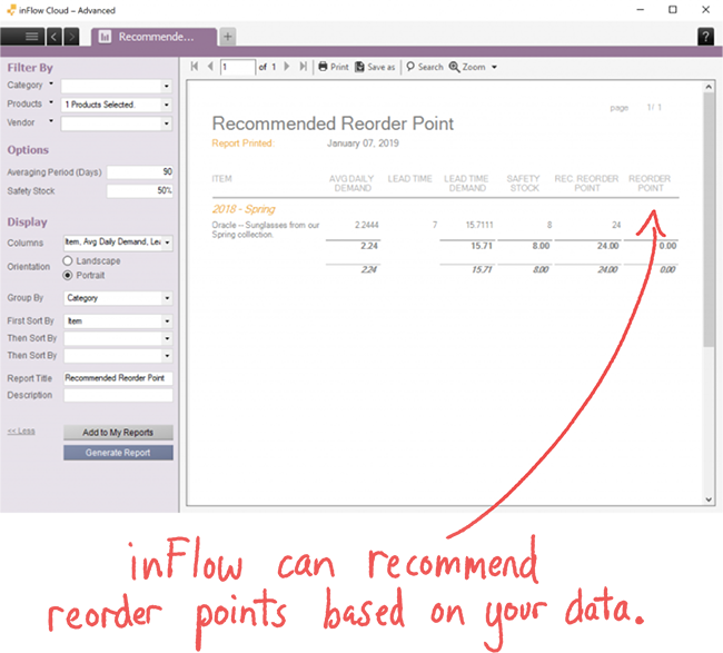 Screenshot of the reorder point report. inFlow can recommend reorder points based on your data.