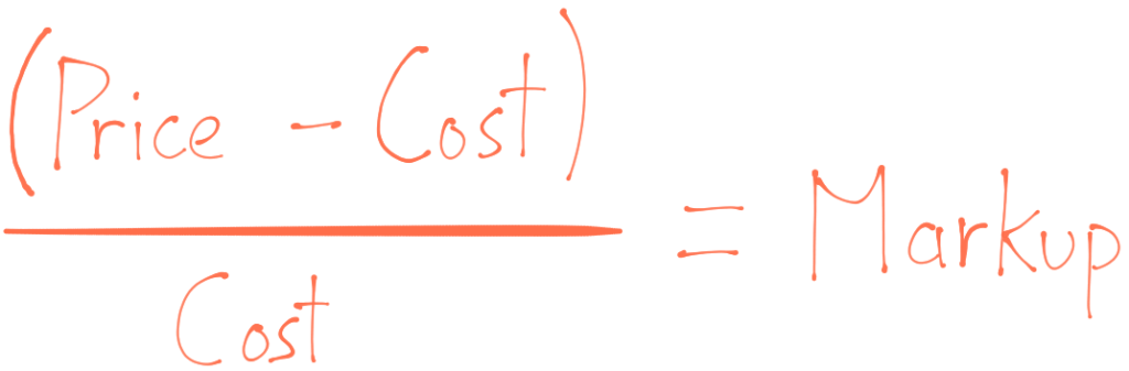 Open parentheses Price minus cost close parentheses divided by cost equals markup