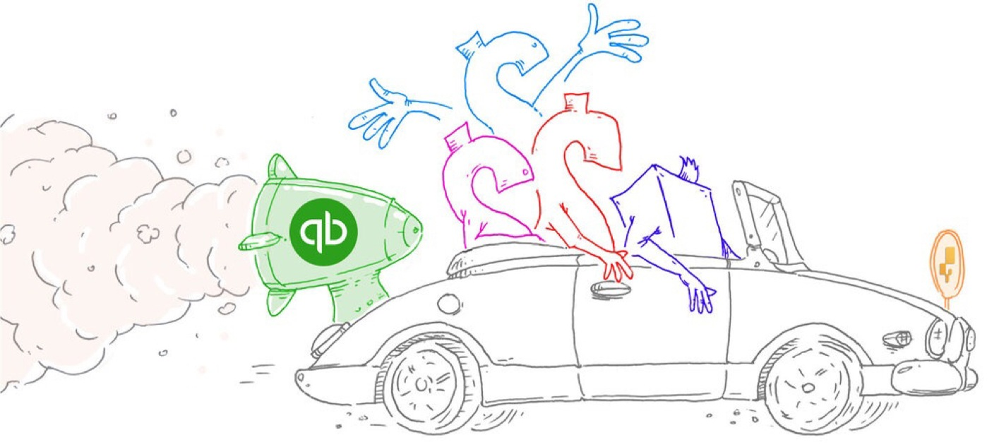 QuickBooks inventory - Drawing of an inFlow car being helped along by QuickBooks