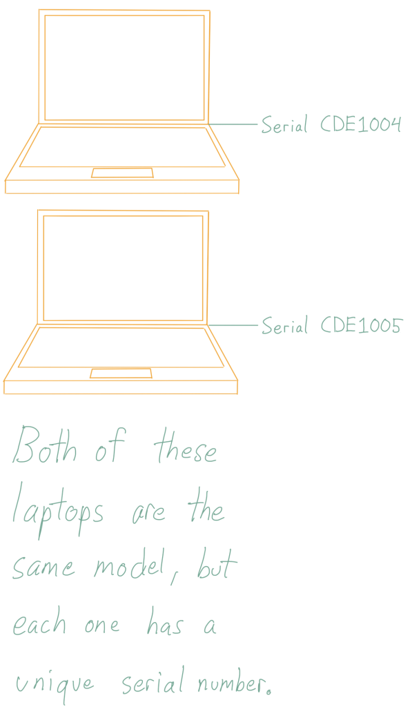 Both of these laptops are the same model, but each one has a unique serial number.