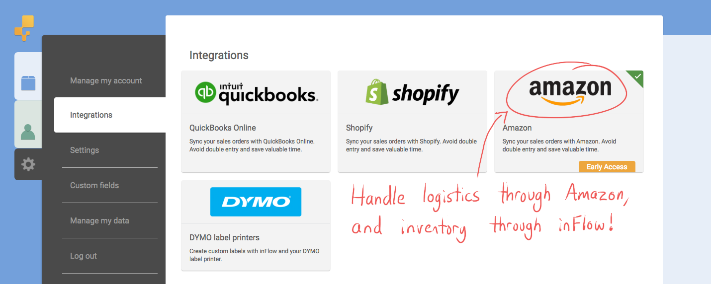 Handle logistics through Amazon, and inventory through inFlow