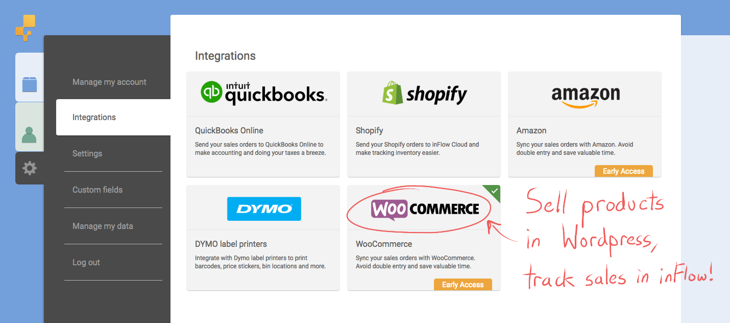 Sell products in Wordpress, track sales in inFlow