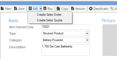 Screenshot of sales quote screen in the inventory software inFlow inventory