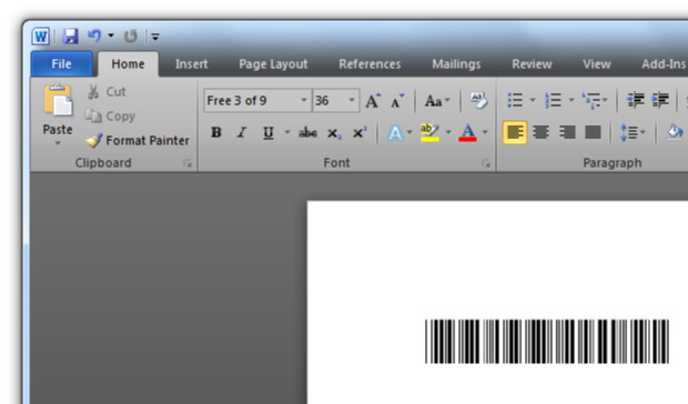 Free Barcode Font Download Using Code 39 (3 of 9) With No