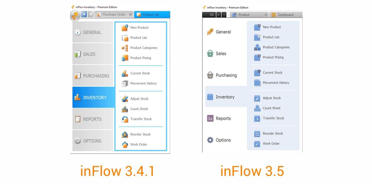 inFlow 3.5_menu comparison