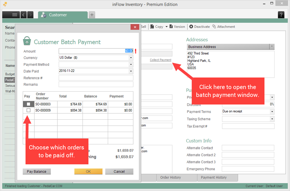 Customer batch payment window