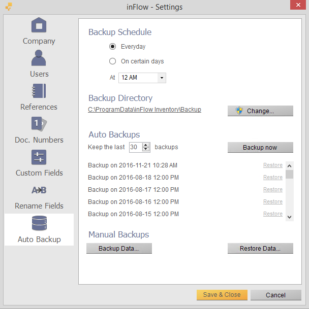 Auto Backup settings