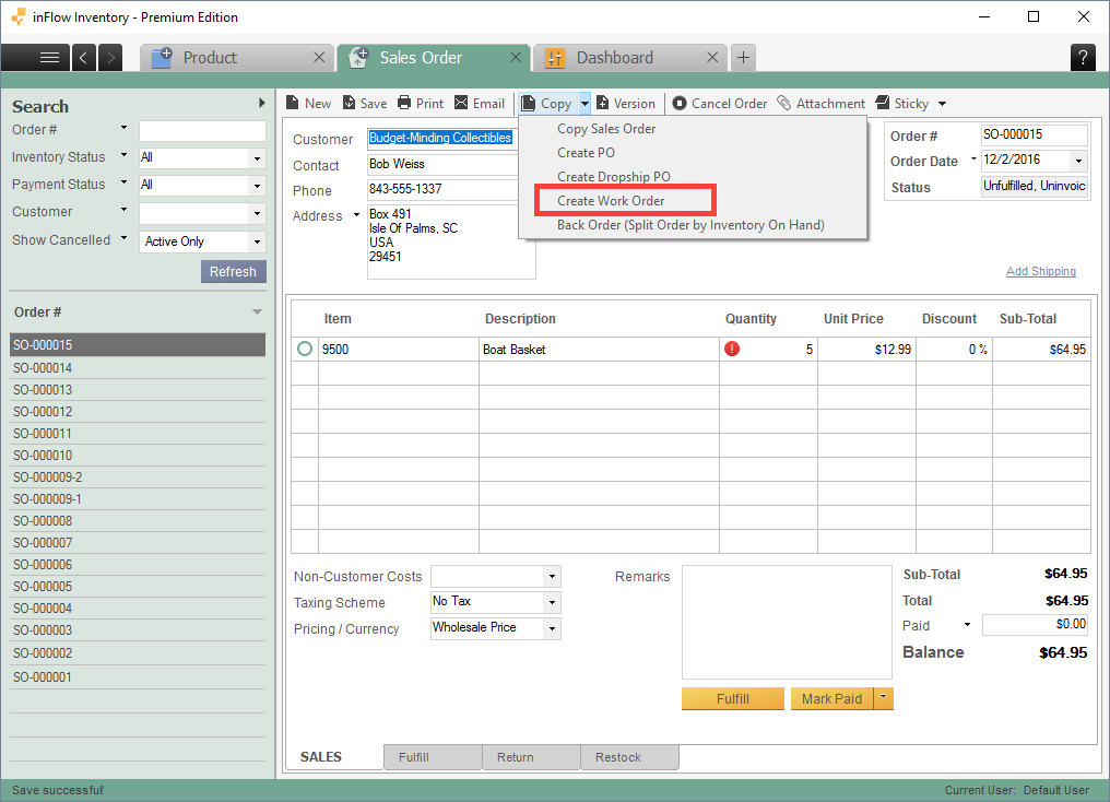 how do i create a work order directly from the sales order screen in