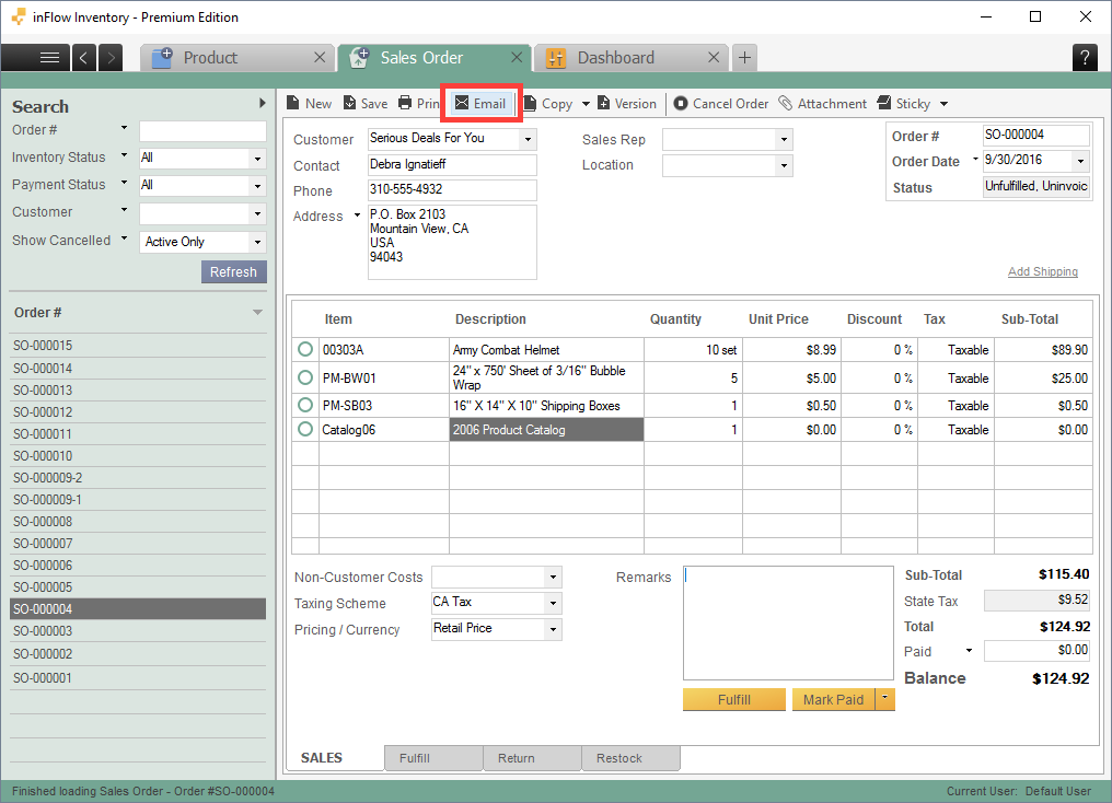 Email From Sales/purchase Order Screen  Email Invoices