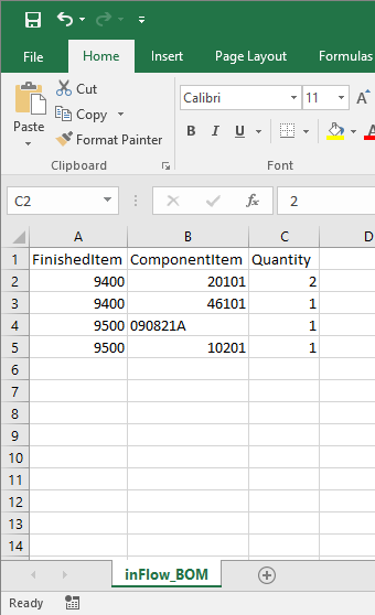 How do I import my Bill of Materials list into inFlow On