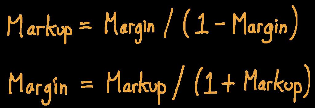 Markup = Margin / (1 - Margin) and Margin = Markup / (1 + Markup)
