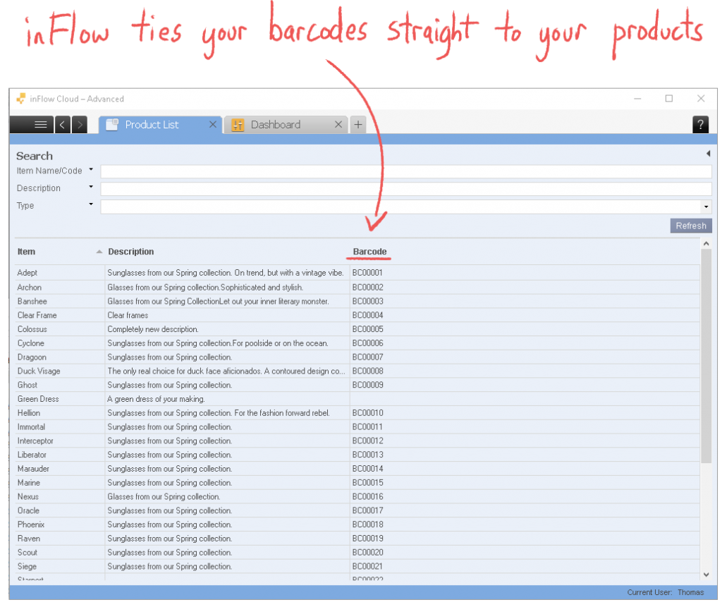 inFlow makes barcoding easy by tying barcodes straight to your products