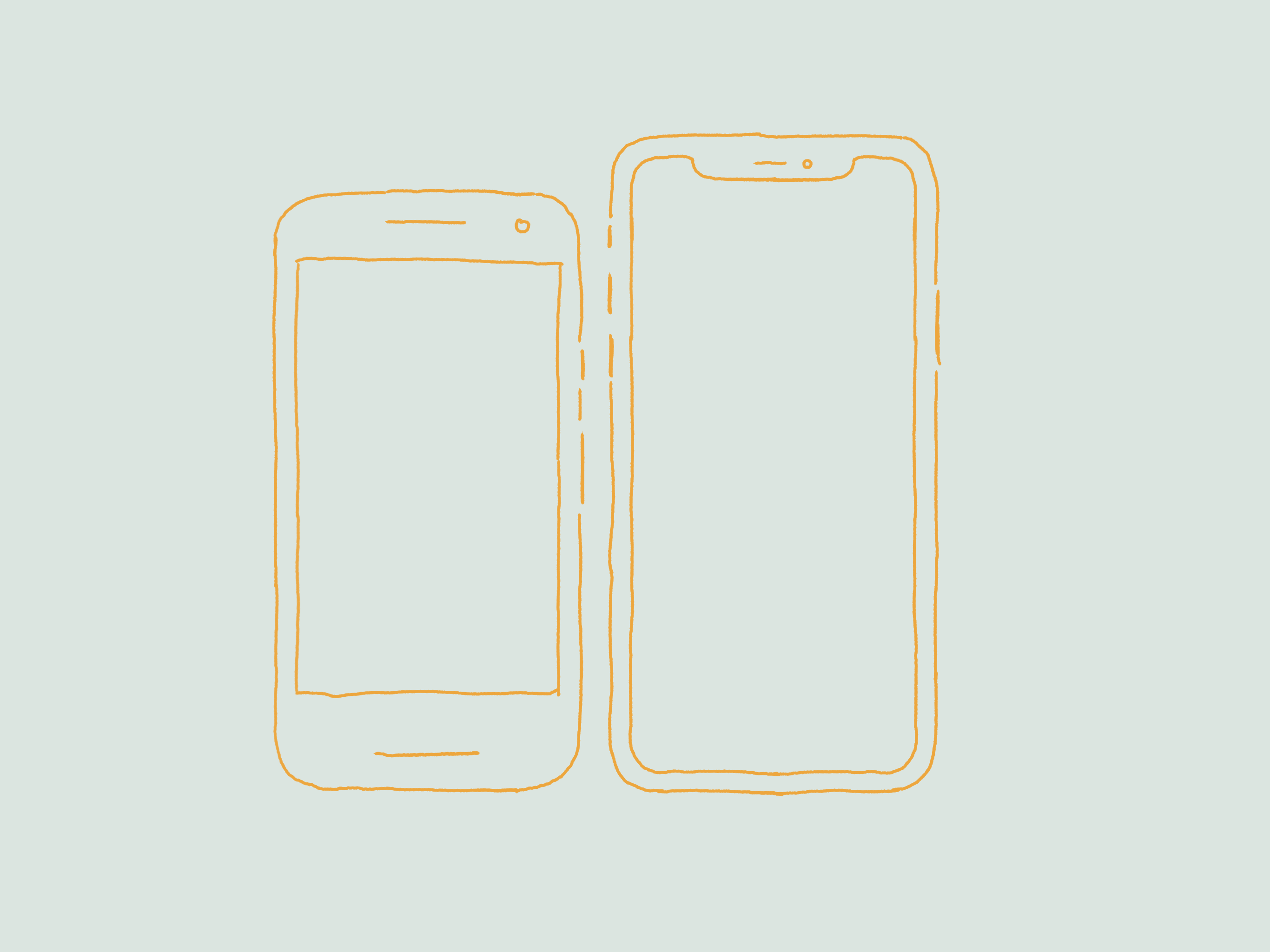 Outlines of an iOS and Android device