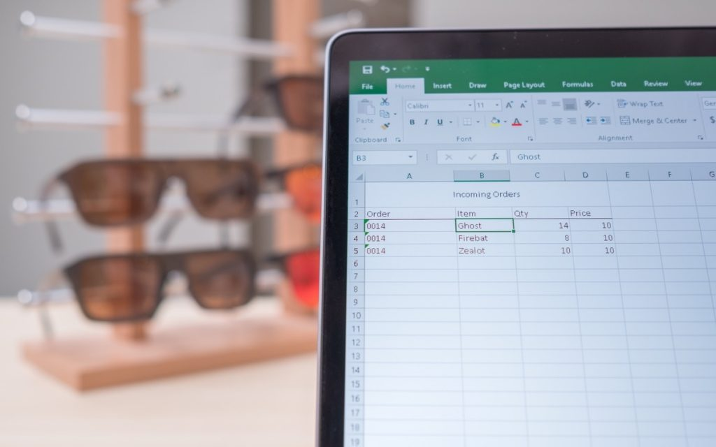 Managing inventory inside of a spreadsheet